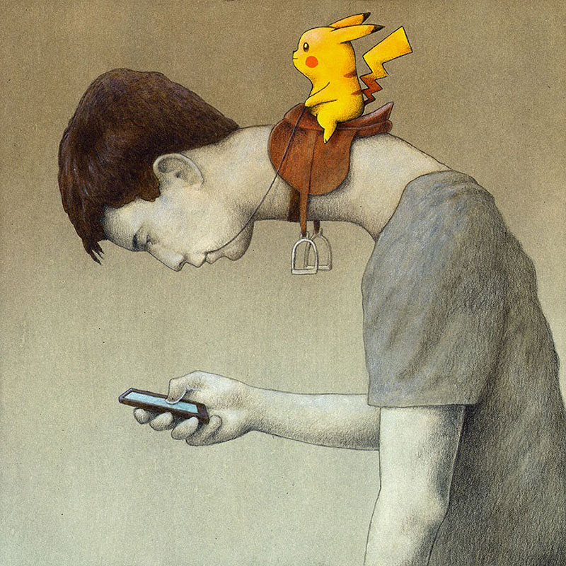 Pikachu and Text neck